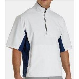FootJoy® Hydrolite™ Short Sleeve Pullover Rain Shirt (White+Royal/Black Houndstooth)