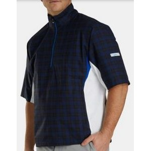 FootJoy® Hydrolite™ Short Sleeve Pullover Rain Shirt (Black+Royal Plaid/White)