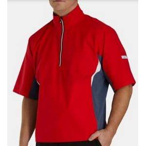 FootJoy® Hydrolite™ Short Sleeve Pullover Rain Shirt (Red+Heather Navy/White)